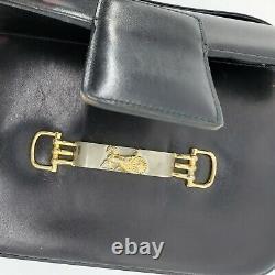Vintage Celine Box Horse Carriage Black Leather Gold Shoulder Hand Bag 56009504