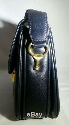 Vintage Celine Box Horse Carriage Navy Leather Shoulder Hand Bag Authentic Rare