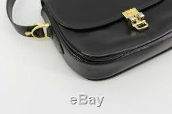 Vintage Celine Box Horse Carriage Saddle Brown Leather Gold Shoulder Hand Bag