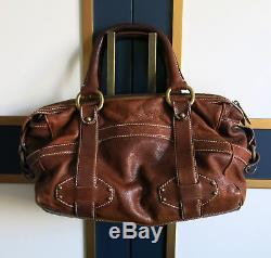 Vintage Celine Brown Leather doctor bag Big Buckle Horse Carriage