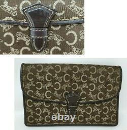 Vintage Celine C Horse Carriage Brown Canvas Leather Clutch Hand Bag Authentic