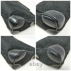 Vintage Celine Horse Carriage Canvas Black Leather Crossbody Shoulder Bag Auth