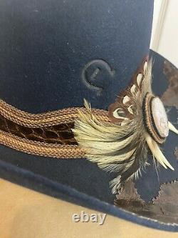 Vintage Charlie 1 Horse WithFeathers Felt Western Hat New Leather 20 7 Gor