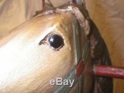 Vintage Child Size Wood Carved Rocking Horse Leather Saddle Glass Eyes