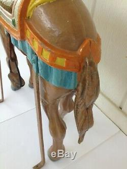 Vintage Childrens Carousel Horse Ride Painted Metal Leather Accents Unique Piece