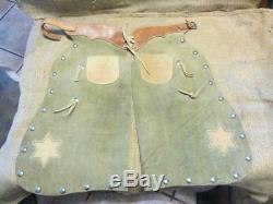 Vintage Childs Leather Cowboy Chaps Antique Horse Bit Old Western Saddles 9905