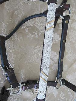Vintage Circle Y Dark Leather Show Halter Silver Jewelers Bronze Horse 3/4 EUC