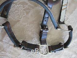 Vintage Circle Y Dark Leather Show Halter Silver Jewelers Bronze Horse 3/4 EUC