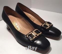 Vintage Classic Ferragamo Black Leather Pumps Brass Horse Bit Woman Size 7.5
