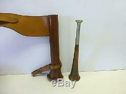 Vintage Copper Fox Hunting Trumpet HORN Leather Saddle Horse Riding Case England