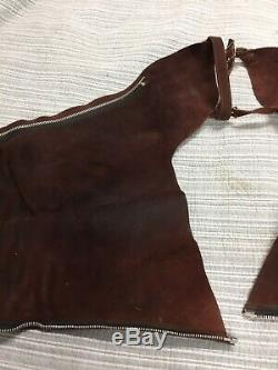 Vintage Cowboy Suede Leather Horse Motorcycle Rodeo Western Chaps Made In USA