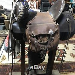 Vintage Cowboy Western Leather Saddle Bags Horse Tack Equestrian Tassels Conches