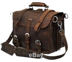 Vintage Crazy Horse Genuine Leather Men Travel Bags Luggage Travel Bag Leather M