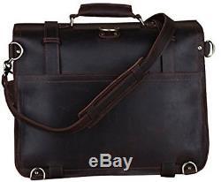 Vintage Crazy Horse Leather Briefcase, Men's Huge Backpack Shoulder Handbag Bag