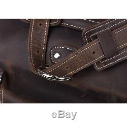 Vintage Crazy Horse Leather Men 15 Laptop Bag Shoulder Handbag Briefcase