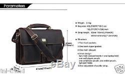Vintage Crazy Horse leather Men Briefcase Tote Large 15laptop Bag Messenger Bag