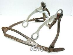 Vintage Crockett Stamped Horse Bit with Silver-Applied Leather Bridle/Reins
