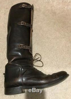 Vintage DEHNER Calfskin Leather Three Buckle US Cavalry Field Boot Sz-10.5D