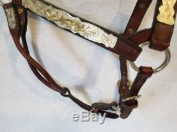 Vintage Dale Chavez Leather Horse Show Halter with Lots of Silver