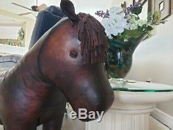 Vintage Dimitri Omersa Large Leather Horse Art Figure Statue 37 Foot Stool