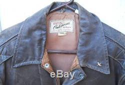 Vintage Distressed Brown Leather Horse Hide Zipper Jacket Men Size Med Hercules