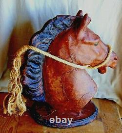 Vintage Distressed Leather Horse Head Statue Large