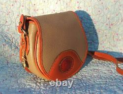 Vintage Dooney and Bourke Cavalry Flap Bag Taupe / Tan U. S. A