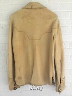 Vintage Elk Hide Leather Shirt Jacket Tooled Mens 40 Antler Button Funky Real A