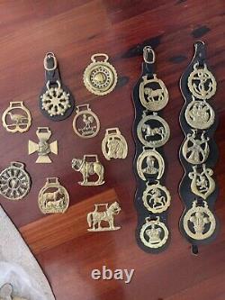 Vintage English Brass Leather Horse Medallions Set