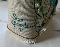 Vintage Enid Collins Sea Garden Purse Tote with Jeweled Sea Horses & Fish Signed
