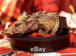 Vintage Equestrian Double Horse Head Gucci 70-28 Leather Brass Belt Buckle