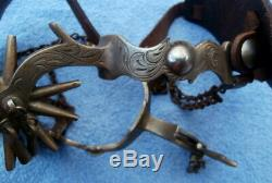 Vintage Etched Engraved Brass Jingle Bob Horse Cowboy Spurs/ Leather Straps