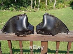 Vintage Floral Tooled Leather Western Saddle Stirrups w TAPADEROS Ranch Horse