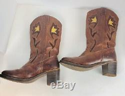 Vintage Frye Western Boho Boots 77395 Brown Floral Women's Size 10 B 3 Heel