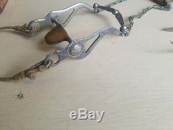 Vintage GARCIA SADDLERY HORSE SHOW CONCHO BIT with leather bridal