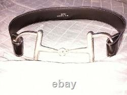 Vintage GUCCI Black Patent Leather Belt with Silver Horse Bit Buckle 29