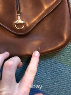 Vintage GUCCI Brown Leather Crossbody Bag Purse Horse Bit NO STRAP