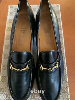 Vintage GUCCI Navy Leather Horse Bit Classic Loafers with Box Women's Size 7