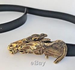 Vintage GUCCI double HORSE head bit LEATHER BELT black 90/36 unisex