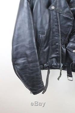 Vintage Genuine Horse Hide Front Quarter Leather Biker Jacket Motorcycle Harley