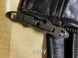 Vintage Genuine Horse Hide Leather Police Motorcycle Jacket Horsehide