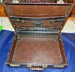 Vintage Genuine Leather Briefcase With Alligator/Crocodile Print By Flying Horse