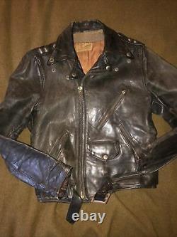 Vintage Grais Horse hide Leather Motorcycle Jacket 70s Talon Small 40R PATINA