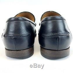 Vintage Gucci Black Leather Bamboo Horse Bit Loafers Mens Size 8 Made In ITALY