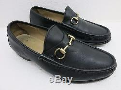 Vintage Gucci Black Leather Strap Horse Bit Dress Fashion Loafers Men Italy 12 E