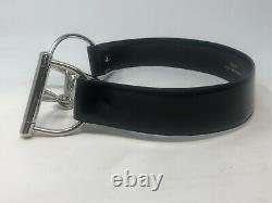 Vintage Gucci Black Patent Leather Belt with Silver Horse Bit Buckle Size 75/30