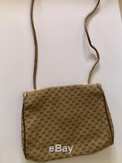 Vintage Gucci GG Monogram Cross Body Bag With Horsebit Hardware