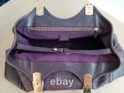 Vintage Gucci Horse-bit Embossed Leather Shoulder Tote Bag Purple