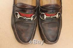 Vintage Gucci Horse bit Red Stripe Loafers Men`s Leather Moccasins RARE SIZE 42