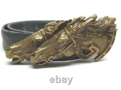 Vintage Gucci Italy Double Horse Head Bronze Belt Buckle With Leather Belt